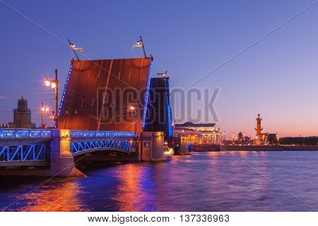 Opened the Palace bridgedrawbridge White Nights in St. Petersburg view of the Spit of Vasilyevsky Island