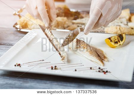 Hand holding spatula with fish. Cooked fish on white plate. Fillet of dorado fish. Savoury organic meal.