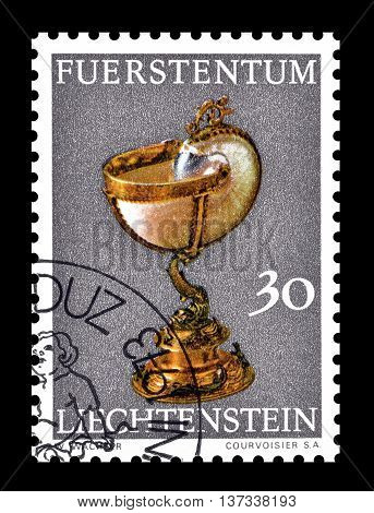 LIECHTENSTEIN - CIRCA 1973 : Cancelled postage stamp printed by Liechtenstein, that shows Nautilus cup.