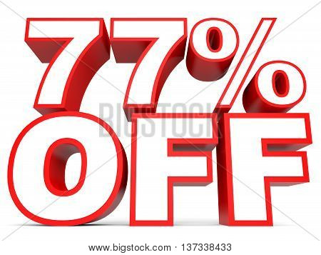 Discount 77 Percent Off. 3D Illustration On White Background.