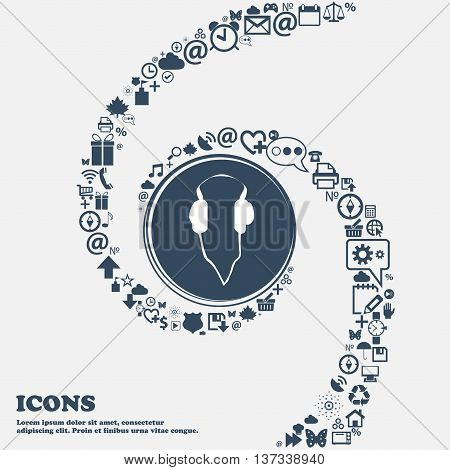 Headphones Sign Icon In The Center. Around The Many Beautiful Symbols Twisted In A Spiral. You Can U