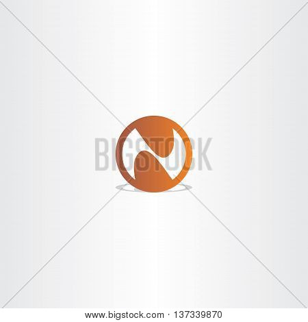 Letter N Brown Circle Vector Icon