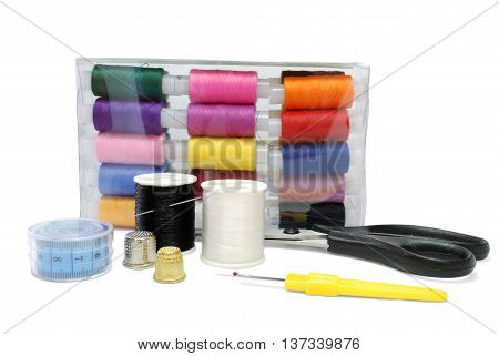 Isolated Sewing Accessoires Set on White Background