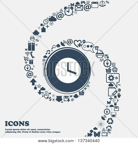 Mechanical Clock Icon Sign In The Center. Around The Many Beautiful Symbols Twisted In A Spiral. You