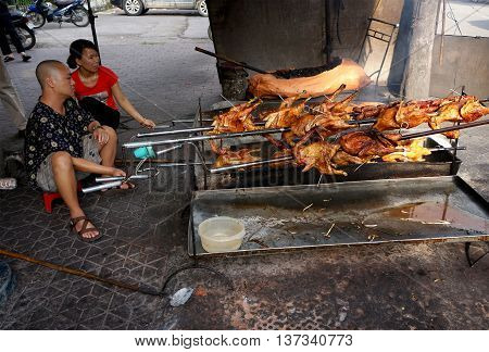 Lang Son, Vietnam, May 16, 2016 Lang Son city people, business, grilled poultry, Lang Son Quarter