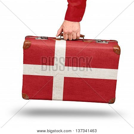 Vintage Danish flag suitcase isolated on white visit Denmark concept