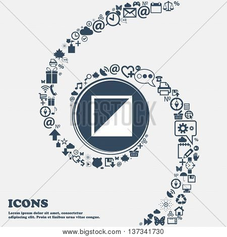 Contrast Icon Sign In The Center. Around The Many Beautiful Symbols Twisted In A Spiral. You Can Use