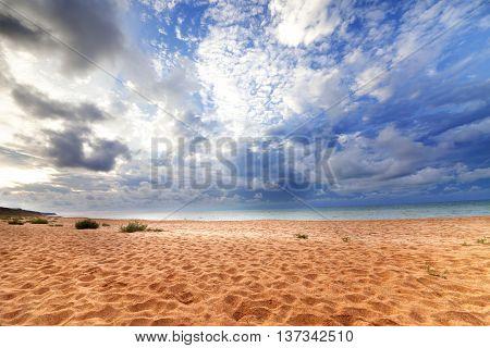Sea Beach In Sun Evening