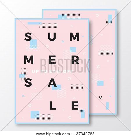 Summer Sale Poster, Card or Flyer Template. Modern Abstract Flat Swiss Style Background with Decorative Elements and Minimal Typography. Pink, Blue Colors. Soft Shadows. Isolated.