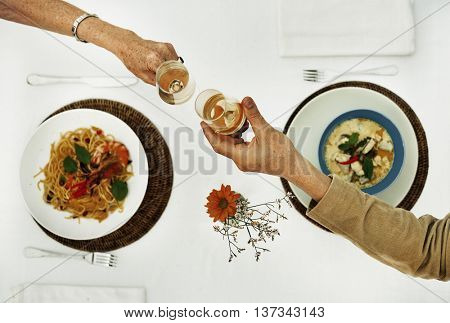 Dining Dating Couple Champagne Celebration Concept