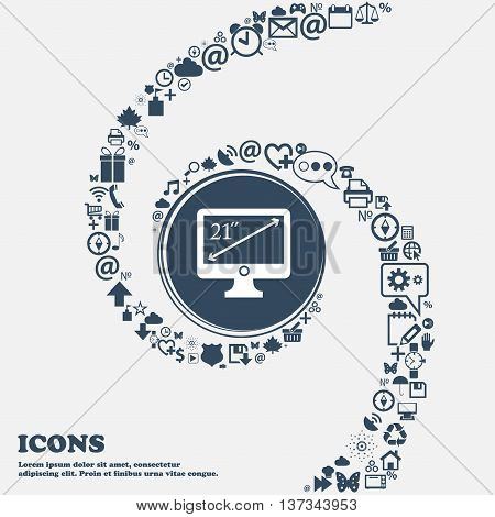 Diagonal Of The Monitor 21 Inches Icon Sign In The Center. Around The Many Beautiful Symbols Twisted