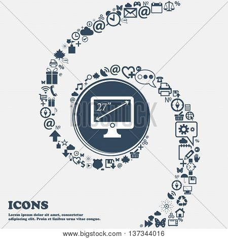 Diagonal Of The Monitor 27 Inches Icon Sign In The Center. Around The Many Beautiful Symbols Twisted