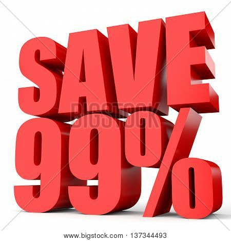 Discount 99 Percent Off. 3D Illustration On White Background.
