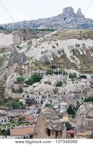 Goreme Turkey - June 26 2015: View of the city Goreme from the observation point Cappadocia Turkey