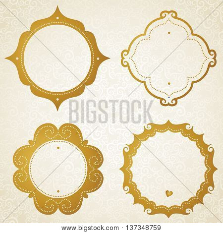 Vector baroque gold frames in Victorian style. Element for design. You can place the text in an empty frame.