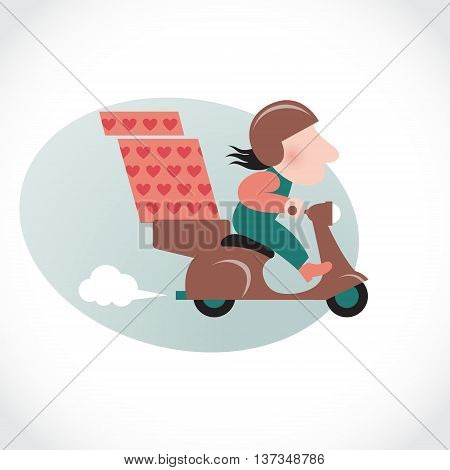 Funny pizza delivery man on brown motorbike. Cartoon character in retro style.