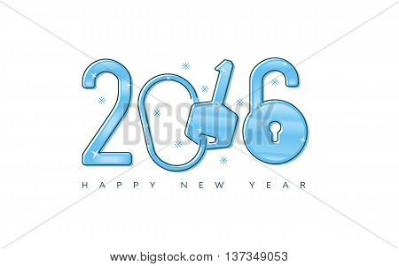 2016 New Year key & lock concept for greeting card, post card, banner, etc.