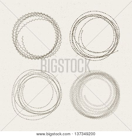 The set of round rough frames. Vector illustration.