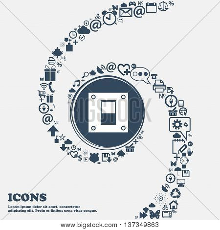 Power Switch Icon Sign In The Center. Around The Many Beautiful Symbols Twisted In A Spiral. You Can