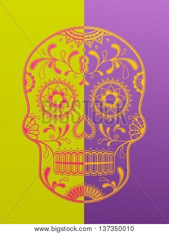 Sugar Skull day of the dead in two color variations.