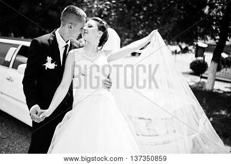 wedding couple background limousine at wedding day