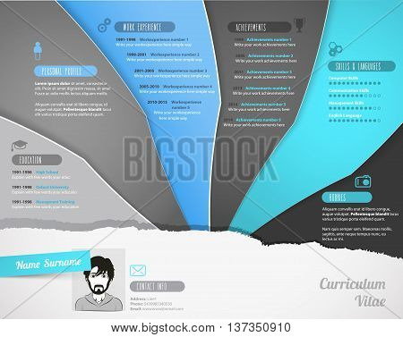 Creative resume template with stripes. Vector art