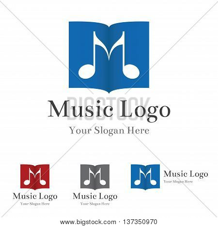 Music logo template. Two notes and music sheet forming letter.