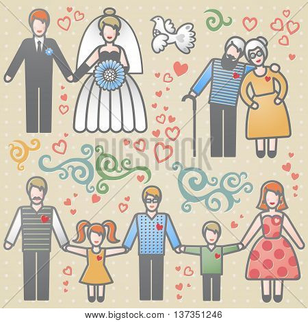 Vector set with happy families. Grandmother grandfather father mother and children.