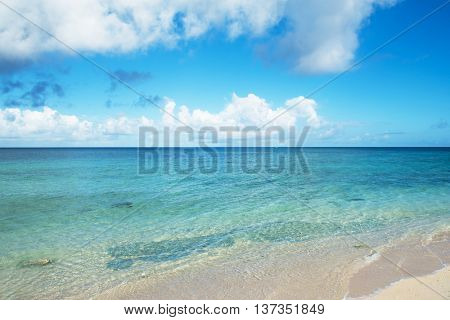 Crystal blue coral reefs of Okinawa. Crystal clear waters of Yomitason,Okinawa ocean.