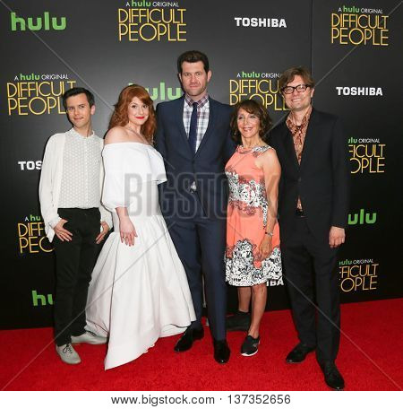 NEW YORK-JUL 30: (L-R) Cole Escola, Julie Klausner, Billy Eichner, Andrea Martin & James Urbaniak attend Hulu Original Premiere of 'Difficult People' at SVA Theater on July 30, 2015 in New York City.
