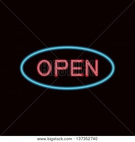 Vector illustration of a neon sign with the word open on black background. Neon billboard.