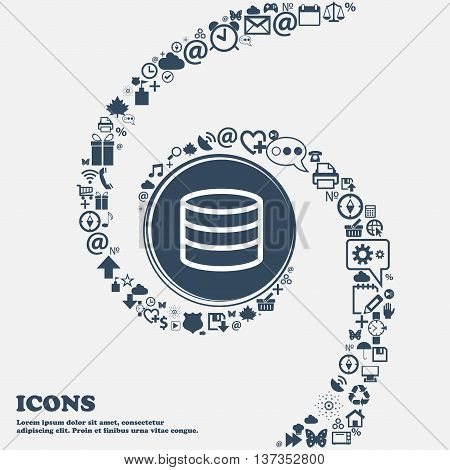 Hard Disk And Database Icon Sign In The Center. Around The Many Beautiful Symbols Twisted In A Spira