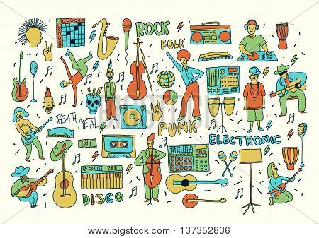 Vector hand drawn cartoon icons. Music genres theme. Line colored doodle icons. Music illustration for textil paper polygraphy game web design