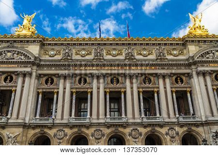 Front of the Palais Garnier in Paris France