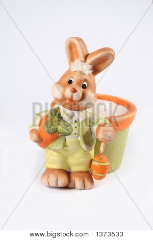 Easter Bunny Holding A Colorful Easter Egg