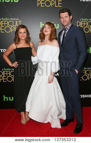 NEW YORK-JUL 30: (L-R) Actors Amy Poehler, Julie Klausner and Billy Eichner attend the Hulu Original Premiere of 'Difficult People' at the SVA Theater on July 30, 2015 in New York City.