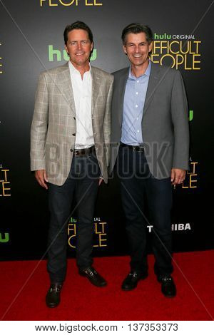 NEW YORK-JUL 30: Hulu SVP of Advertising Sales Peter Naylor (L) and Hulu CEO Mike Hopkins attend the Hulu Original Premiere of 'Difficult People' at the SVA Theater on July 30, 2015 in New York City.