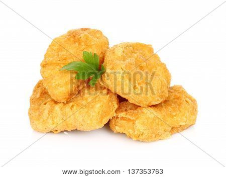 Fried chicken cutlets on a white background