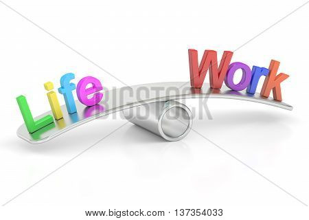 Life and Work balance concept 3D rendering isolated on white background