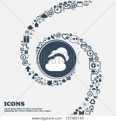 Cloud Icon Sign In The Center. Around The Many Beautiful Symbols Twisted In A Spiral. You Can Use Ea