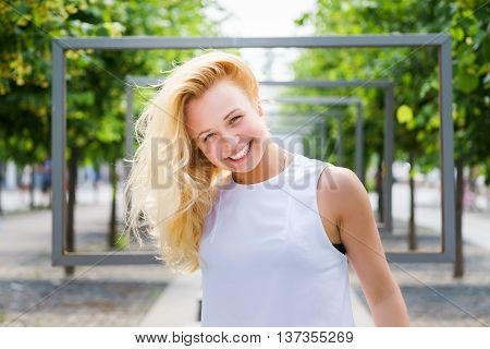 Portrait of young woman enjoying summer vacation