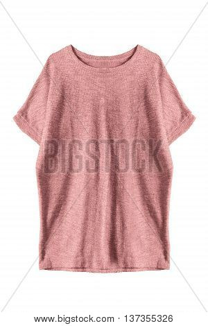 Pink casual oversize dress isolated over white