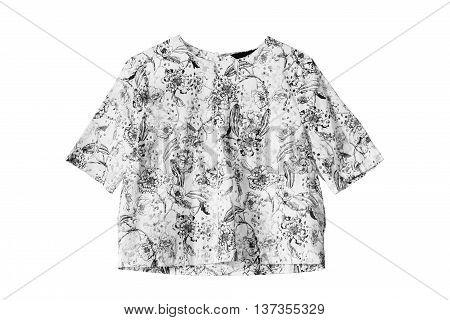 Black and white elegant blouse isolated over white