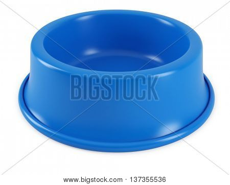 Blue pet bowl isolated on white background. 3D rendering of the dog or cat empty plate.