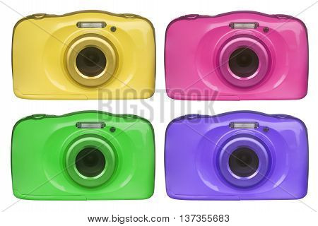 digital camera of various colors isolated on white background