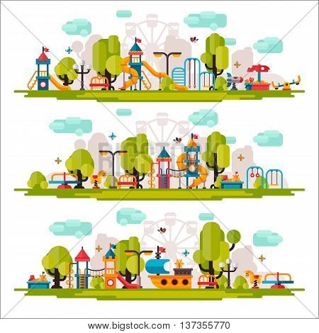 Kids playground. Swings sandpit sandbox bench tree slide. Children playground flat stock illustration with isolated elements on white background.