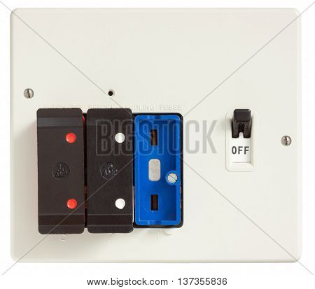 Old Fuse box with one fuse removed isolated on white with clipping path
