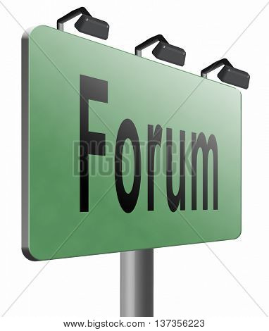 forum internet icon website www logon login and subscribe to participate in discussion, 3D illustration isolated on white.