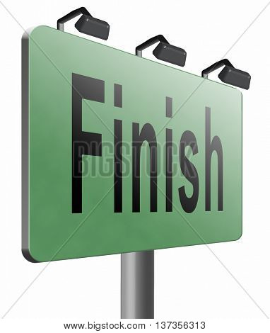 finish the end of the competition an exit out of problems road sign, billboard, 3D illustration isolated on white