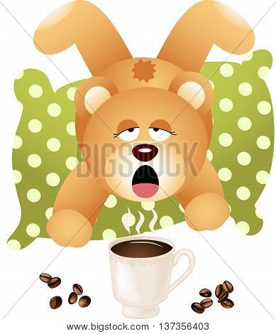 Scalable vectorial image representing a teddy bear wants coffee, isolated on white.
